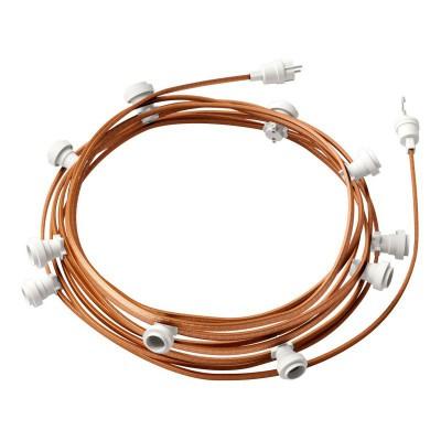 Guirlande lumineuse guinguette 12,5 m prête à l'emploi avec câble Whiskey CM22 avec 10 douilles, crochet et prise inclus