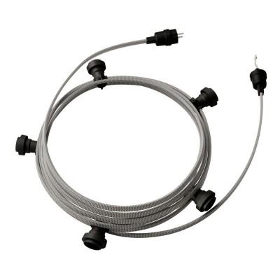 Guirlande lumineuse guinguette 7,5 m prête à l'emploi avec câble ZigZag Blanc - Noir CZ04 avec 5 douilles, crochet et prise