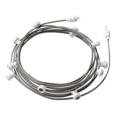 Guirlande lumineuse guinguette 12,5 m prête à l'emploi avec câble ZigZag Blanc - Noir CZ04 avec 10 douilles, crochet et prise