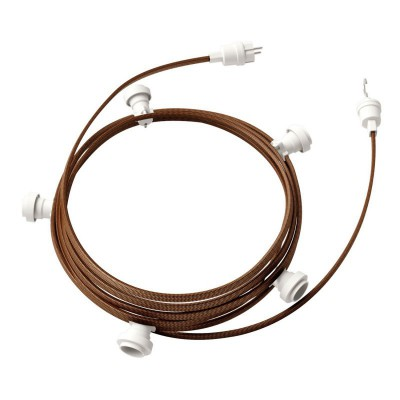 Guirlande lumineuse guinguette 7,5 m prête à l'emploi avec câble ZigZag Noir - Whiskey CZ22 avec 5 douilles, crochet et prise