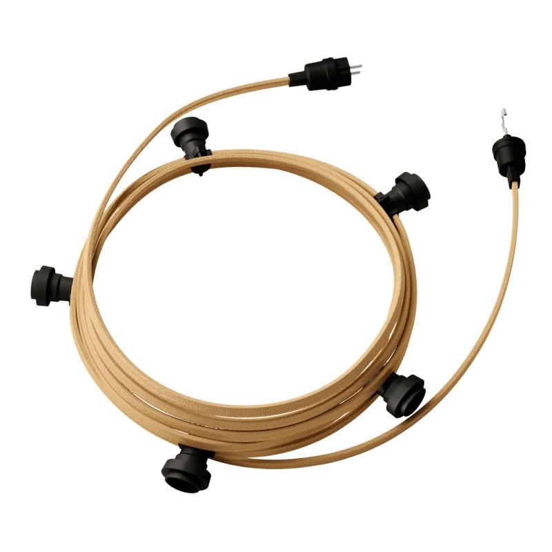 Guirlande lumineuse guinguette 7,5 m prête à l'emploi avec câble Jute CN06 avec 5 douilles, crochet et prise inclus
