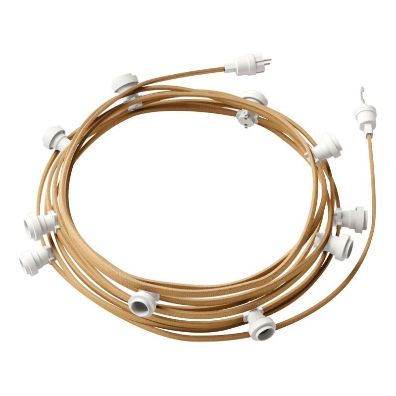 Guirlande lumineuse guinguette 12,5 m prête à l'emploi avec câble Jute CN06 avec 10 douilles, crochet et prise inclus
