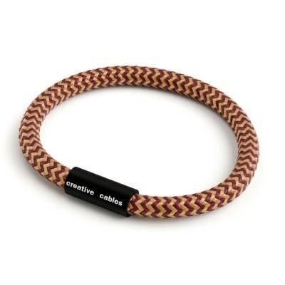 Bracelet avec fermoir magnétique noir mat et câble RZ23 (effet soie ZigZag Or et Bordeaux)