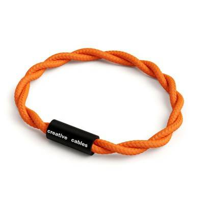 Bracelet avec fermoir magnétique noir mat et câble TM15 (effet soie tissu uni Orange)