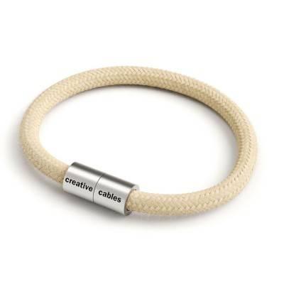 Bracelet avec fermoir magnétique argent mat et câble RN06 (Jute)