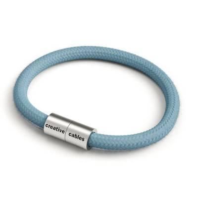 Bracelet avec fermoir magnétique argent mat et câble RC53 (tissu uni Océan)