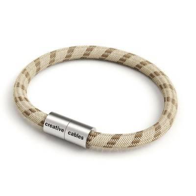 Bracelet avec fermoir magnétique argent mat et câble RD53 (rayures Marron Écorce Et Lin Naturel)