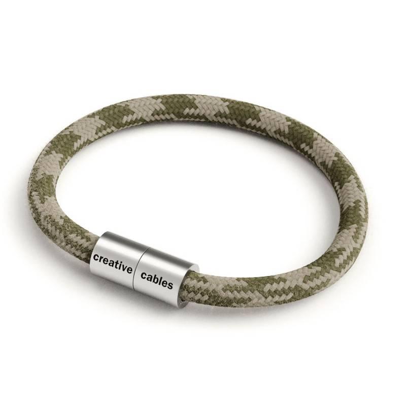 Bracelet avec fermoir magnétique argent mat et câble RP30 (bicolore Vert Thym et Tourterelle)