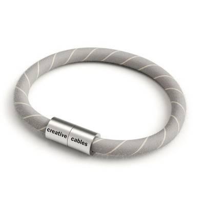 Bracelet avec fermoir magnétique argent mat et câble ERD22 (tissage en coton et Lin Beige)