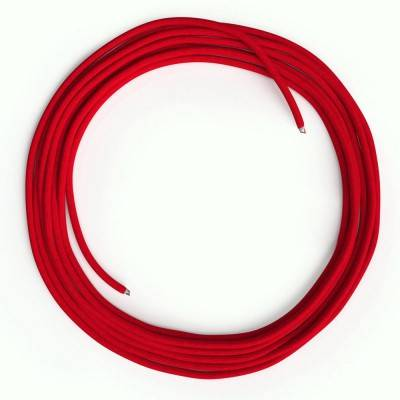 LAN Ethernet Cable Cat 5e without RJ45 plugs - Rayon Fabric RM09 Red