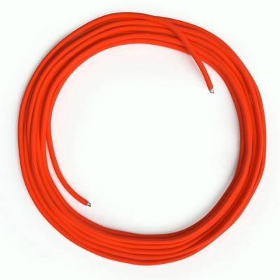 Câble Lan Ethernet Cat 5e sans connecteurs RJ45 - RF15 Effet Soie Orange Fluo