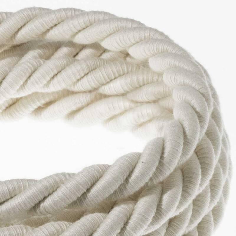 Corde XL, câble électrique 3x0,75. Revêtement en coton brut. Diamètre 16mm.