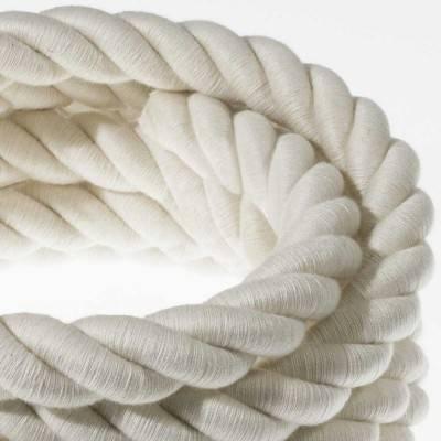 Electrische 2XL touwkabel, 3 x 0,75 mm. Binnenkabels bedekt met textiel en katoen. Diameter 24 mm.