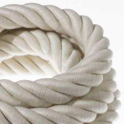 Electrische 3XL touwkabel, 3 x 0,75 mm. Binnenkabels bedekt met textiel en katoen. Diameter 30 mm.