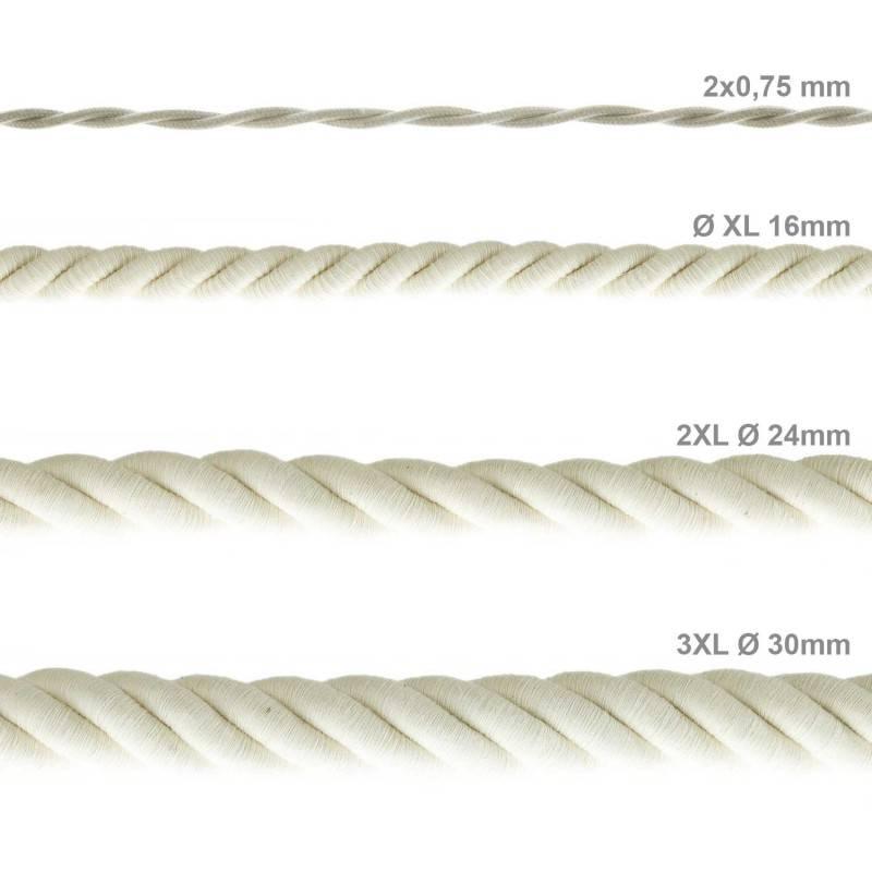 Corde 3XL, câble électrique 3x0,75. Revêtement en coton brut. Diamètre 30mm.