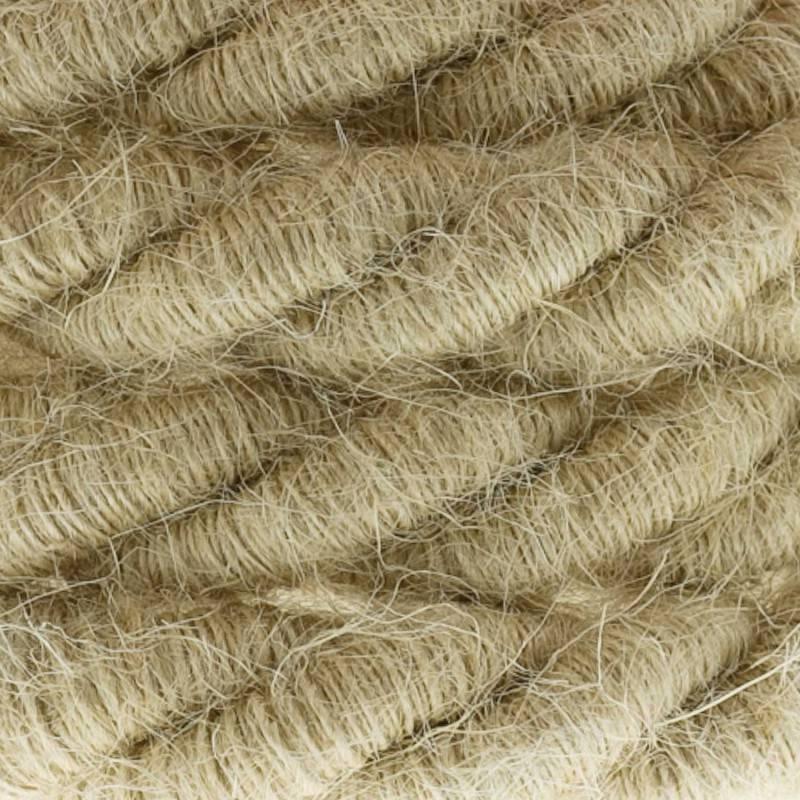 Electrische XL touwkabel, 3 x 0,75 mm. Binnenkabels bedekt met textiel en jute. Diameter 16 mm.