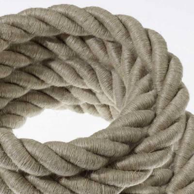 Electrische 2XL touwkabel, 3 x 0,75 mm. Binnenkabels bedekt met textiel en natuurlijk linnen. Diameter 24 mm.