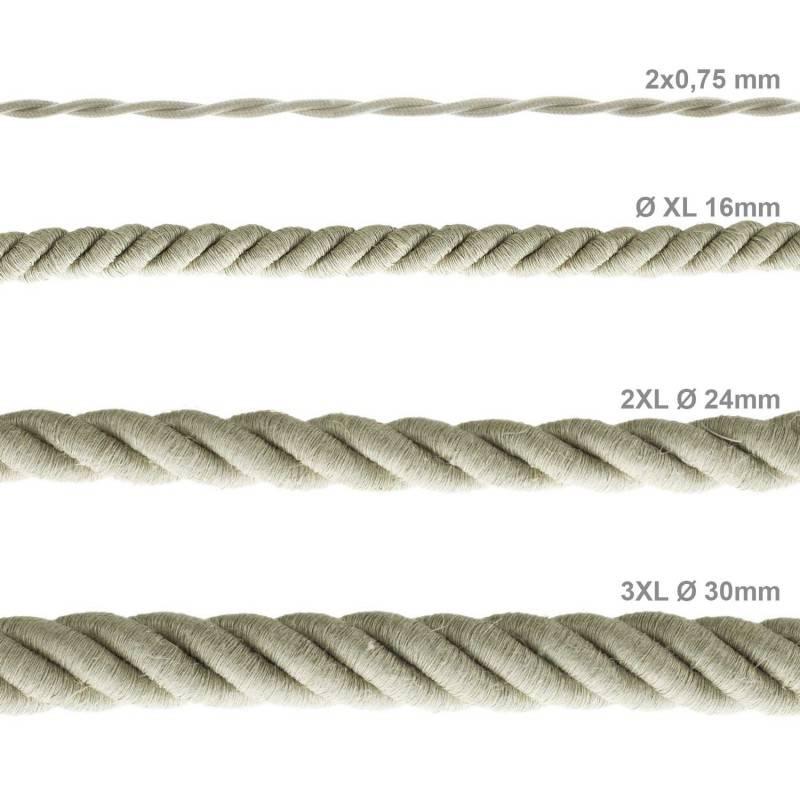 Corde 3XL, câble électrique 3x0,75. Revêtement en lin naturel. Diamètre 30mm.