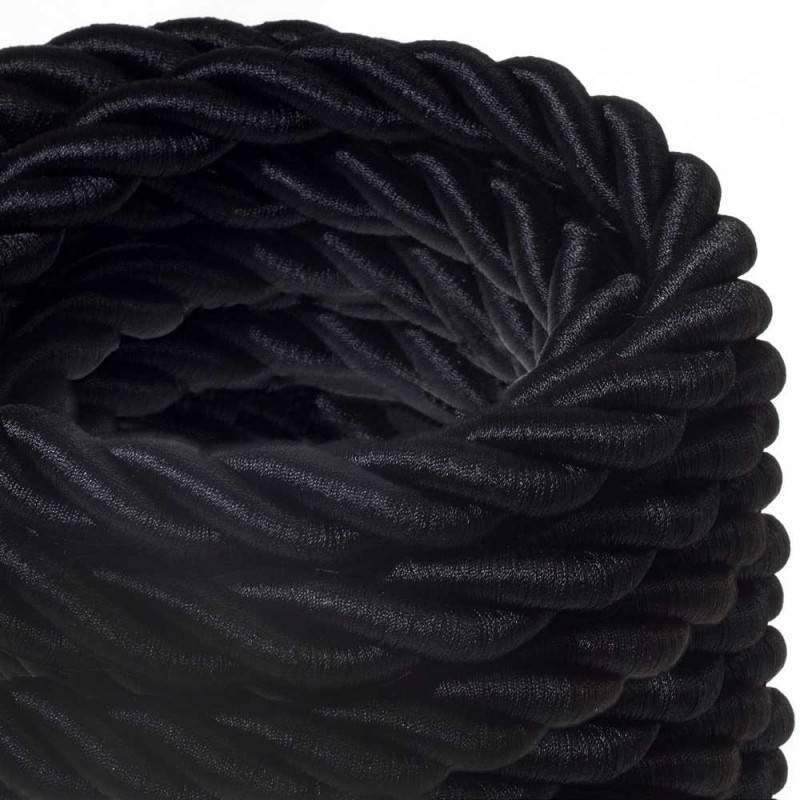 Corde 2XL, câble électrique 3x0,75. Revêtement en tissu noir brillant. Diamètre 24mm.