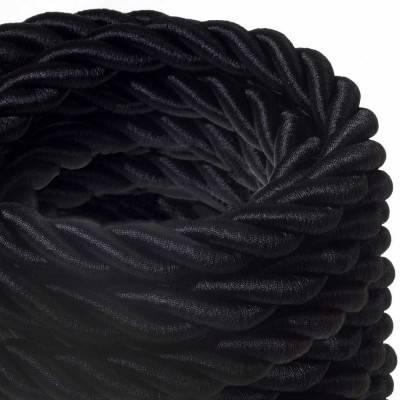Electrische 2XL touwkabel, 3 x 0,75 mm. Binnenkabels bedekt met zwart textiel. Diameter 24 mm.