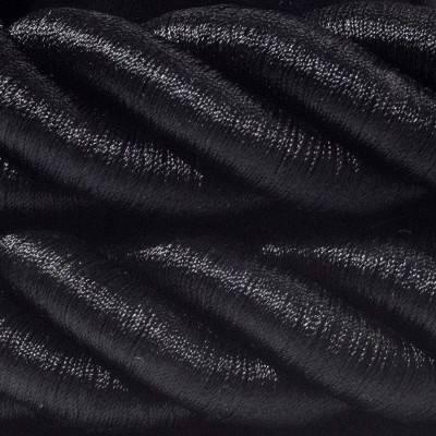 Electrische 3XL touwkabel, 3 x 0,75 mm. Binnenkabels bedekt met zwart textiel. Diameter 30 mm.