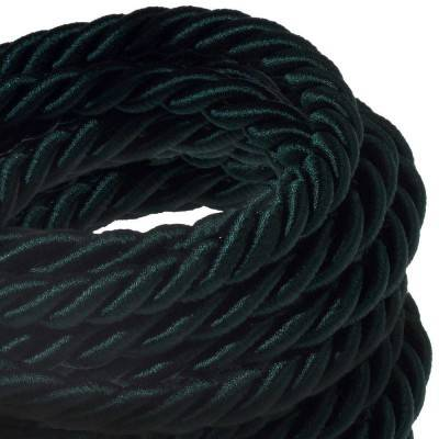Electrische XL touwkabel, 3 x 0,75 mm. Binnenkabels bedekt met donkergroen textiel. Diameter 16 mm.