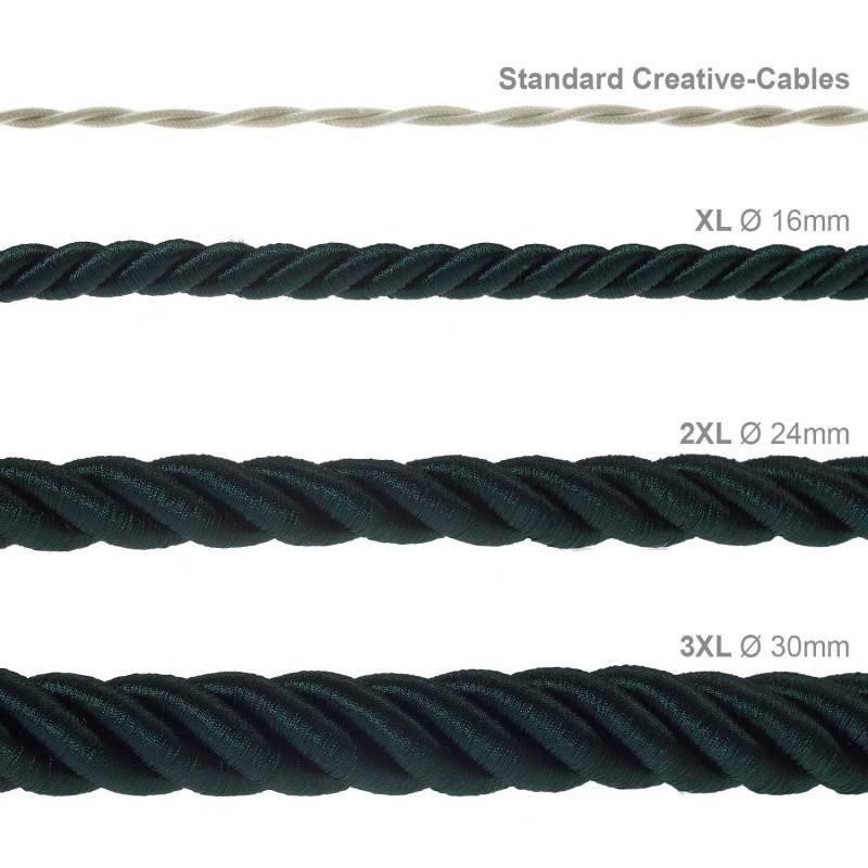 Corde XL, câble électrique 3x0,75. Revêtement en tissu vert foncé brillant. Diamètre 16mm.