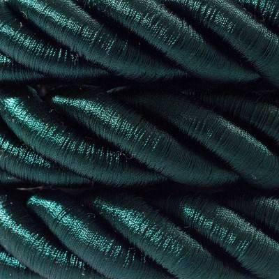 Electrische 2XL touwkabel, 3 x 0,75 mm. Binnenkabels bedekt met donkergroen textiel. Diameter 24 mm.