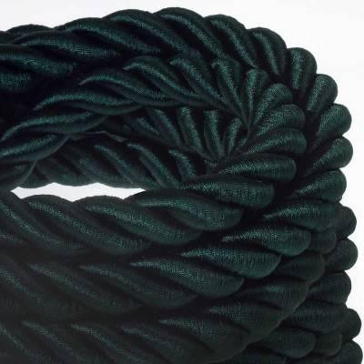 Corde 2XL, câble électrique 3x0,75. Revêtement en tissu vert foncé brillant. Diamètre 24mm.