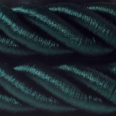 Electrische 3XL touwkabel, 3 x 0,75 mm. Binnenkabels bedekt met donkergroen textiel. Diameter 30 mm.