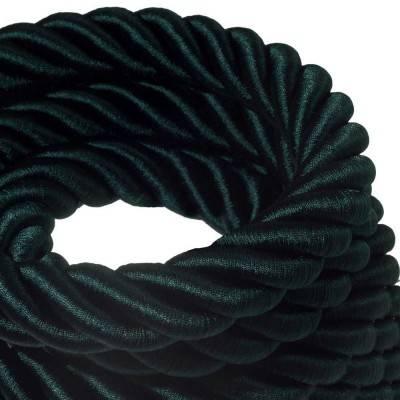 Corde 3XL, câble électrique 3x0,75. Revêtement en tissu vert foncé brillant. Diamètre 30mm.