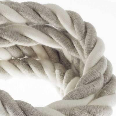 Electrische 2XL touwkabel, 3 x 0,75 mm. Binnenkabels bedekt met textiel, katoen en natuurlijk linnen. Diameter 24 mm.