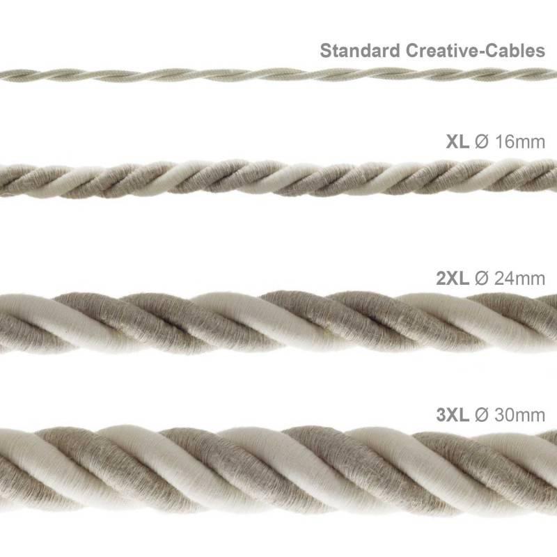 Corde 2XL, câble électrique 3x0,75. Revêtement en lin naturel et coton brut. Diamètre 24mm.