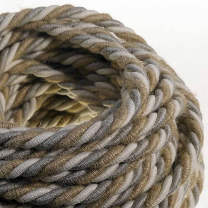 Corde XL, câble électrique 3x0,75. Revêtement en jute, coton et lin naturel Country. Diamètre 16mm.