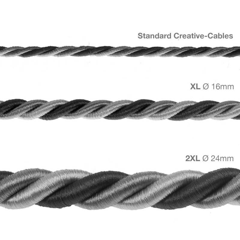 Corde XL, câble électrique 3x0,75. Revêtement en tissu lucide Orleans. Diamètre 16mm.