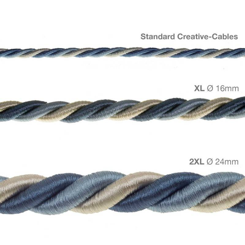 Corde 2XL, câble électrique 3x0,75. Revêtement en tissu lucide Bernadotte. Diamètre 24mm.