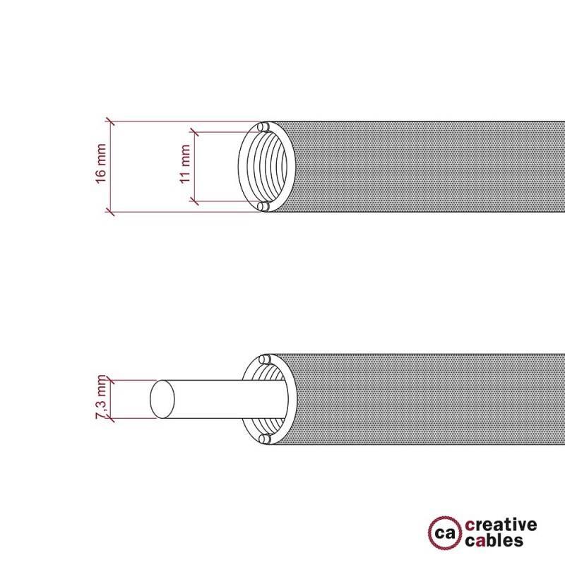 Creative-Tube, tube flexible avec revêtement tissu Effet Soie Rouge RM09, diamètre 16 mm