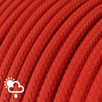 Ronde buitenkabel bekleed met rood viscose SM09