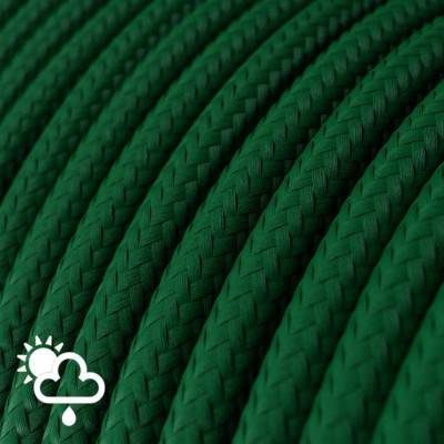 Câble pour l'extérieur Gaine De Tissu De Couleur Effet Soie Tissu Uni Vert Foncé SM21