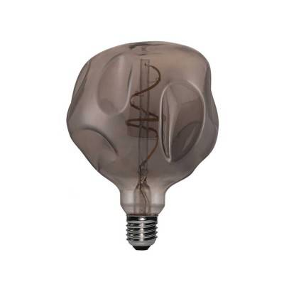 Ampoule LED Globo G125 Cabossée Smoky filament à spirale 5W E27 Dimmable 2000K