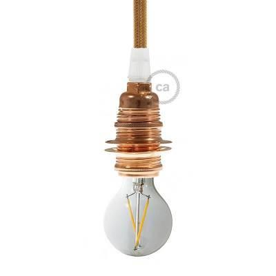 Metalen E14 fitting voor lampenkap en 2 schroefringen
