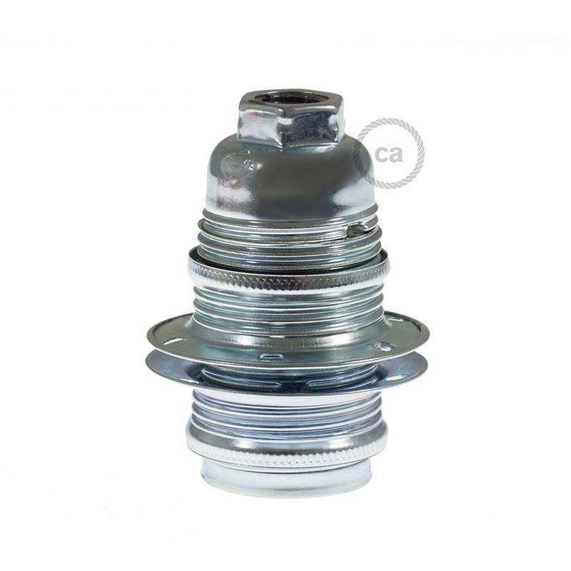 Kit douille E14 en métal avec écrou double bague pour abat-jour