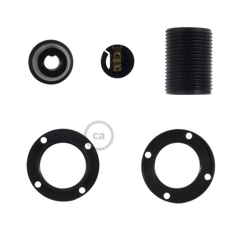 Hard plastic E14 fitting voor lampenkap en 2 schroefringen