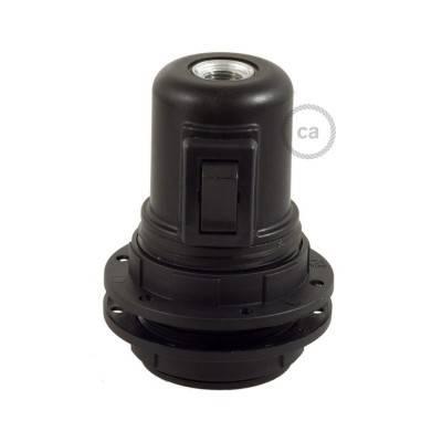 Hard plastic E27 fitting voor lampenkap met schakelaar en twee schroefringen