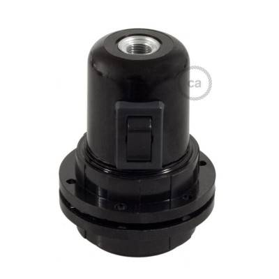 Bakeliet E27 fitting voor lampenkap met schakelaar en 2 schroefringen