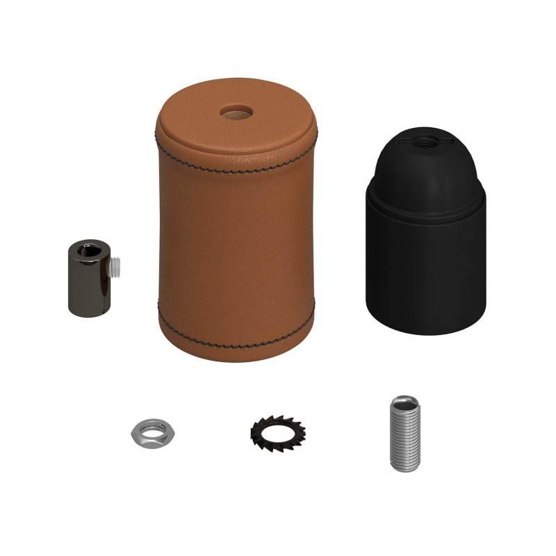 Met leer bekleed houten E27 fittinghouder kit