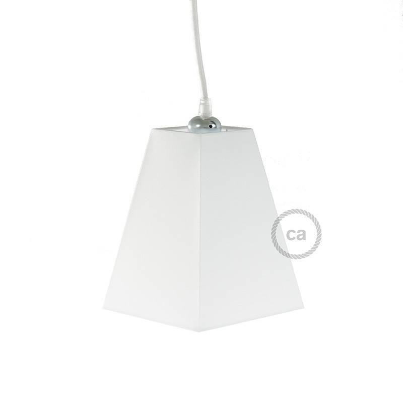 Abat-jour pyramidal carré en tissu avec culot E27, base 16x16 cm H20 cm - 100% Made in Italy