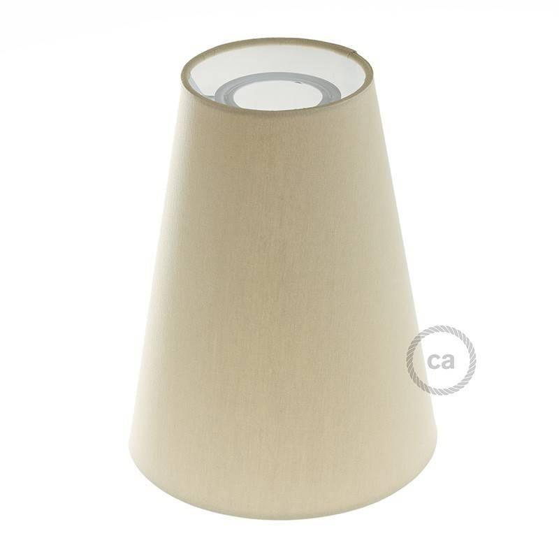 Abat-jour tronconique en tissu avec culot E27, diamètre 16cm H20cm - 100% Made in Italy