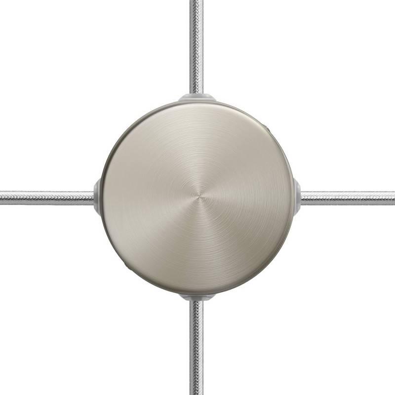 Kit Mini-cilindrische metalen rozet met 4 zijgaten (aansluitdoos)