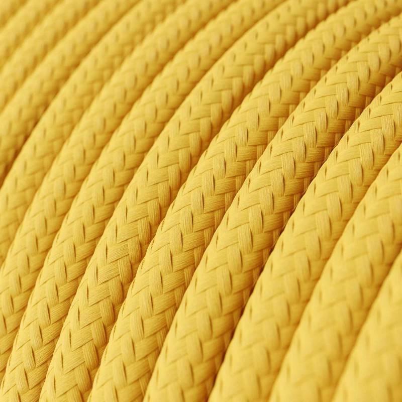 Fil Électrique Rond Gaine De Tissu De Couleur Effet Soie Tissu Uni Jaune RM10